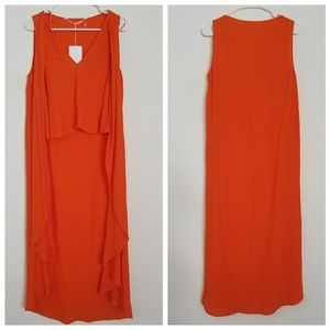 Trafaluc by Zara Flowy Hi-Lo Crop Top Orange Small
